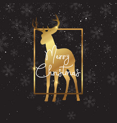 christmas background with gold deer silhouette vector image