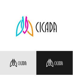 Cicada insect creative color logo elegant wide vector