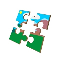 Colorful puzzle cartoon icon vector image