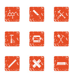Composite material icons set grunge style vector