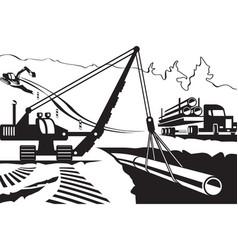 Construction pipeline through mountain vector