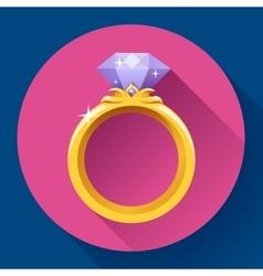 Diamond gold ring icon Flat 20 design vector image