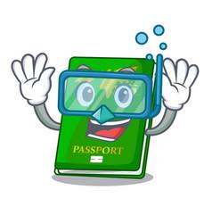 Diving green passport in the cartoon shape vector