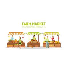 farm market farmers selling fresh natural organic vector image