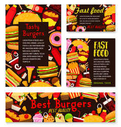 Fast food burgers restaurant posters vector