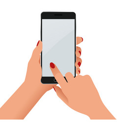Female hand holding a phone with blank screen vector