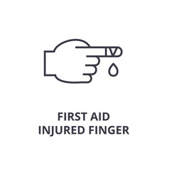 First aid injured finger line icon outline sign vector