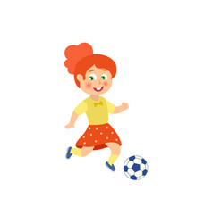 Flat girl character playing football vector
