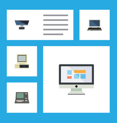 flat icon computer set of technology notebook vector image