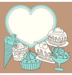 frame with sweet little cupcakes vector image