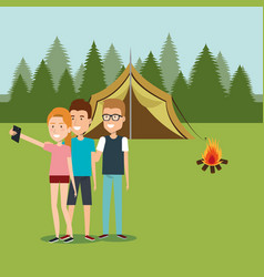 Friends with smartphones in the camping zone vector