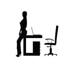Girl in office silhouette vector