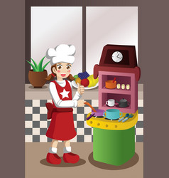 Girl playing with kitchen and cooking toy vector
