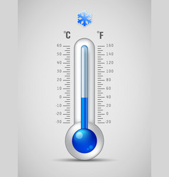 glass thermometer with scale measuring cold vector image