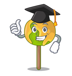 Graduation candy apple character cartoon vector