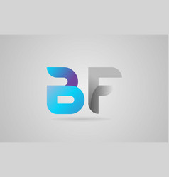 Grey blue alphabet letter bf b f logo icon design vector