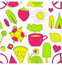 hand drawn neon doodles pattern vector image