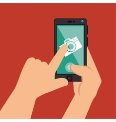 Hands holds smartphone camera picture design vector