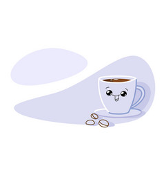 happy cute smiling coffee cup with funny face vector image