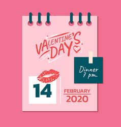 happy valentines day calendar valentines day vector image