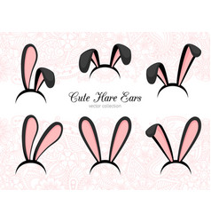 hare ears costume part vector image