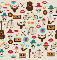 hipster colorful retro vintage seamless pattern vector image