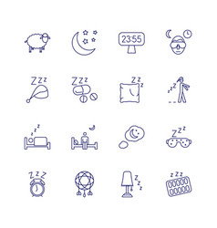 insomnia problems icons and sleeping trouble vector image