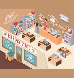 Isometric pet shop composition vector