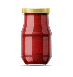 Jar with raspberry jam vector
