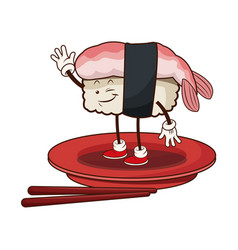 kawaii sushi oriental food japanese platter and vector image