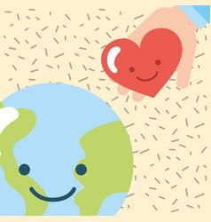 kawaii world and hand love heart donate charity vector image