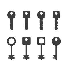 Keys silhouettes set vector