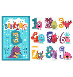 kids anniversary numbers children birthday party vector image