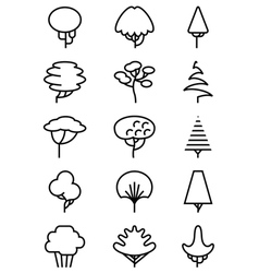 line art icons set with trees vector image