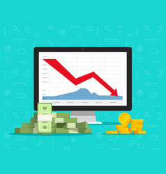 loss money on computer stocks graphs vector image
