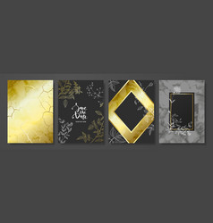 Luxury cards collection with marble texture hand vector