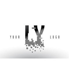 ly l y pixel letter logo with digital shattered vector image