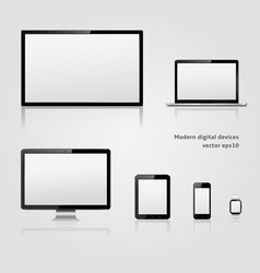 Modern technology digital devices with blank vector