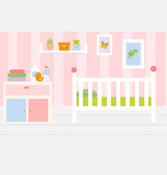 Nursery room interior apartment in pink colors vector