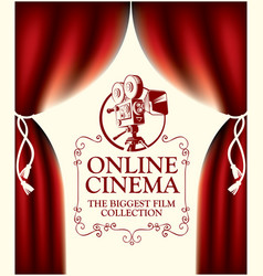 online cinema banner with curtains and old camera vector image