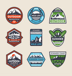 Outdoor expedition vintage isolated label set vector