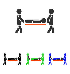 Patient stretcher flat icon vector