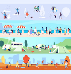 people outdoor activities seasonal walking man vector image