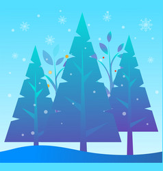 pine tree forest snowing winter landscape vector image