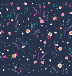 Pink grey roses and daisies ditsy seamless pattern vector