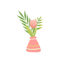 pink tulip in vase hello spring floral design vector image