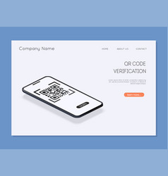 qr code verification scan code to mobile phone vector image