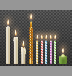 realistic burning candles set vector image
