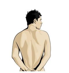 Rear view of man vector