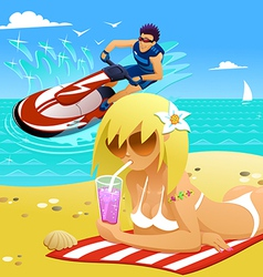 relaxing on the beach vector image